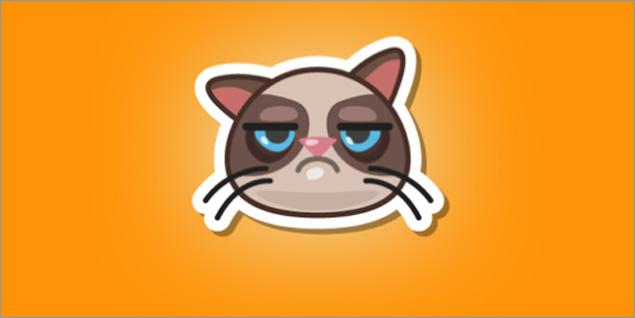Adesivo da Grumpy Cat no Swarm, aplicativo de check-in do Foursquare, feito para a campanha que arrecada fundos para a ONG Alley Cat Allies (Divulgação/Foursquare )