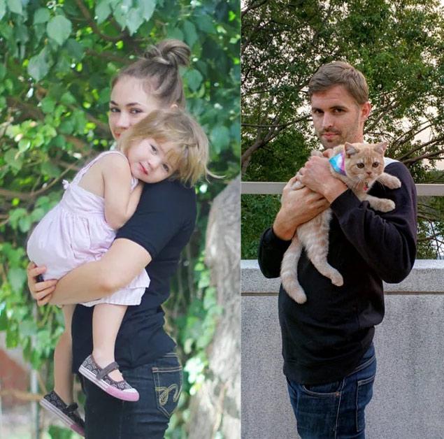 Gordy Yates (à dir.), com seu gato no colo, imita foto da irmã com a sobrinha (Reprodução/gordygordyblog.com)