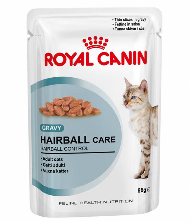 O Hairball Care Wet, novo sachê da marca francesa, promete ajudar na eliminação dos pelos ingeridos pelos gatos (Royal Canin/Reprodução)