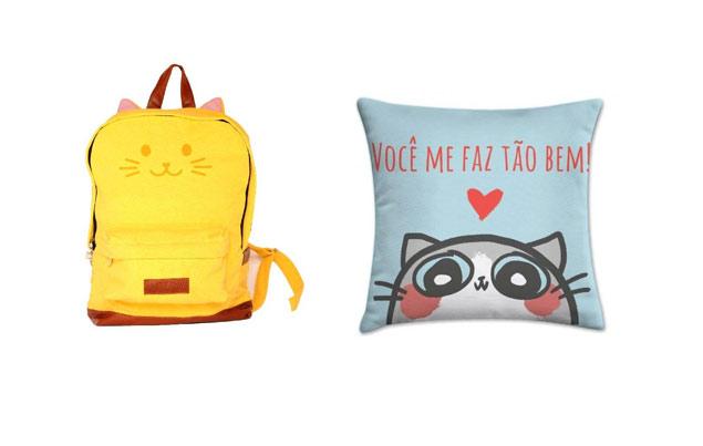 Mochila amarela da Cat Club (R$ 142,41) e Almofada da ONG Gatópoles (R$ 29,90) --Divulgação