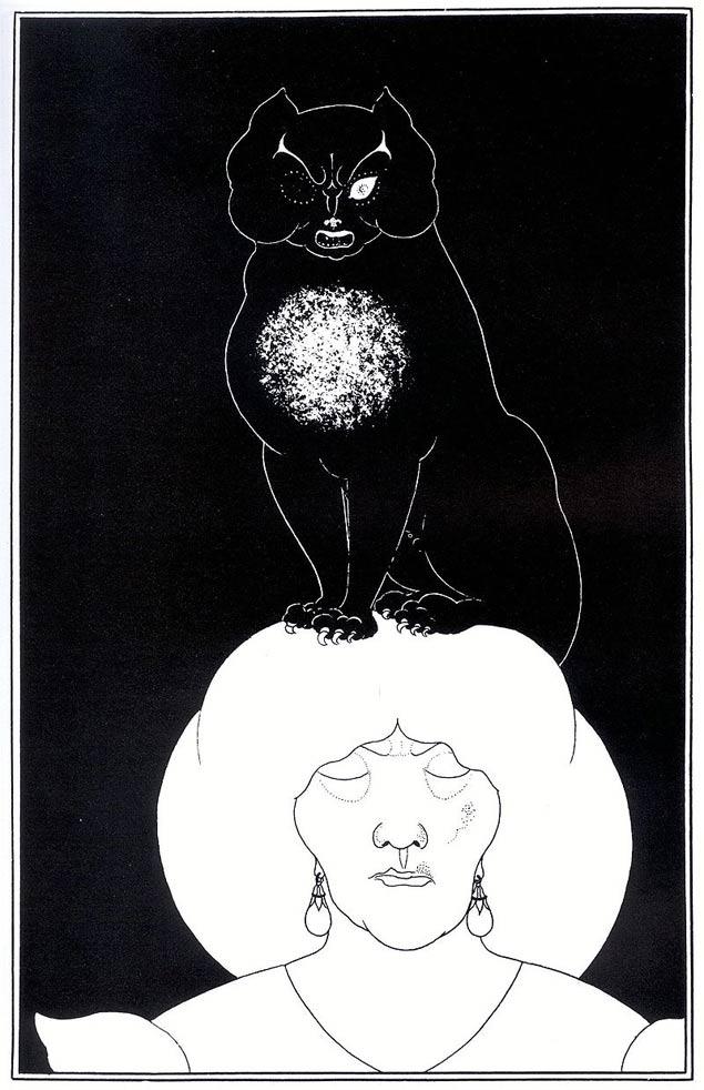 """Ilustração de Aubrey Beardsley (1872-1898) para """"O Gato Preto"""", de Edgar Allan Poe (Divulgação)"""