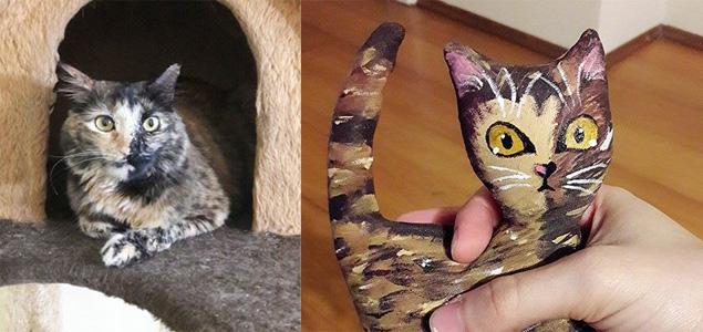 A gatinha Lisa e sua versão em tecido criada por Natália Salles (Arquivo Pessoal)